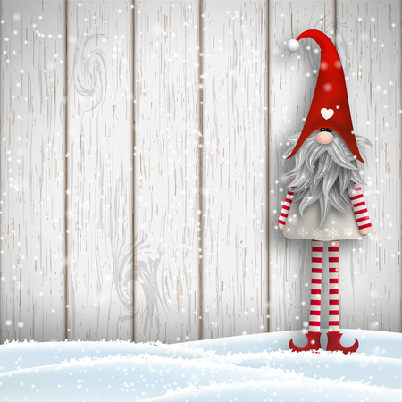 Nisser in Norway and Denmark, Tomtar in Sweden or Tonttu in Finnish, Scandinavian folklore elves, nordic christmas motive, Tomte standing in front of gray wooden wall in snow, vector illustration, eps 10 with transparency