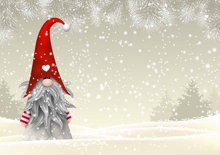 Nisser na Noruega e Dinamarca, Tomtar na Suécia ou Tonttu em finlandês, escandinavo elfos do folclore, motivo de Natal nórdico, Tomte permanente na paisagem de inverno, ilustração vetorial