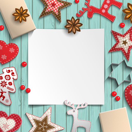 bstract: bstract christmas background, white sheet of paper lying among small scandinavian styled decorations on blue wooden desk, inspired by flat lay style, vector illustration Illustration
