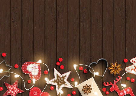 christmas motive: Christmas background, small scandinavian styled red decorations iluminated by electric decorative lights lying on dark brown wooden desk, inspired by flat lay style, vector illustration Illustration