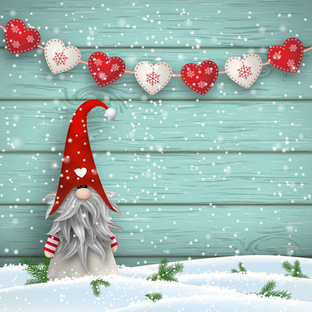 Nisser in Norway and Denmark, Tomtar in Sweden or Tonttu in Finnish, Scandinavian folklore elves, nordic christmas motive, Tomte standing in front of blue wooden wall in snow, with decorative garland created from white and red small hearts, vector illustr