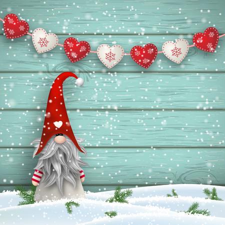 Nisser na Noruega e Dinamarca, Tomtar na Suécia ou Tonttu em finlandês, elfos do folclore escandinavo, motivo de Natal nórdico, Tomte em pé na frente da parede de madeira azul na neve, com guirlanda decorativa criada de corações pequenos brancos e vermelhos, vector ilustr