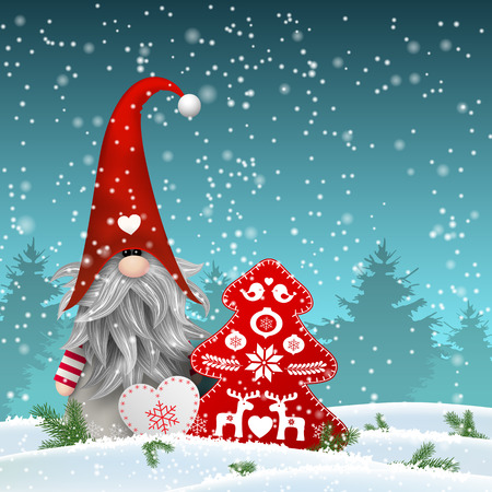 Nisser in Norway and Denmark, Tomtar in Sweden or Tonttu in Finnish, Scandinavian folklore elves, nordic christmas motive, Tomte standing in front of winter forrest in snowy landscape, with decorated heart and tree, vector illustration