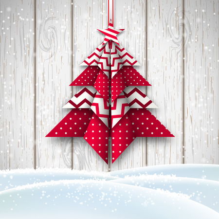christmas theme: red and white origami tree on white wooden background, abstract christmas theme, vector illustration