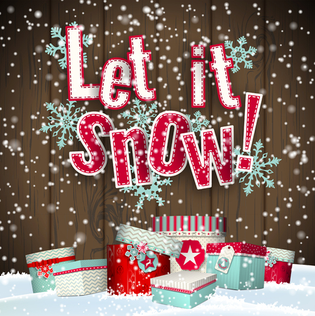 let it snow: Let it snow, red text on brown wooden background with 3d effect and group of colorful giftboxes lying in snowdrift, vector illustration