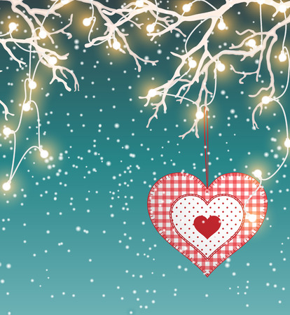 sewed: Christmas background, winter landscape with red heart in scandinavian style and electric decorative lights hanging in dry branches, vector illustration