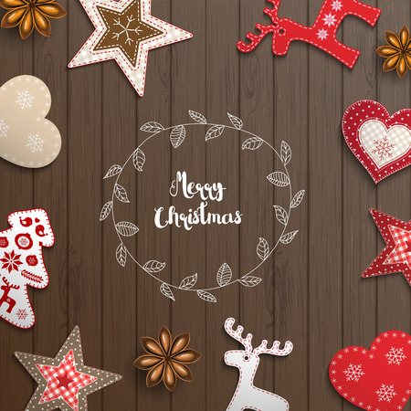 lay: Christmas background, small scandinavian styled red decorations lying on brown wooden desk, inspired by flat lay style, with text Merry christmas, framed by abstract leaf wreath, vector illustration, eps 10 with transparency