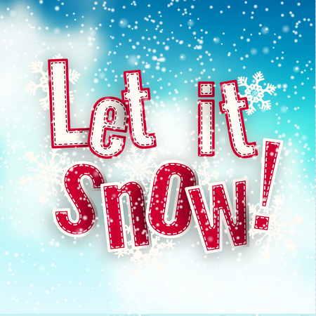 let it snow: Let it snow, blue text on background created by abstract sky and clouds, with 3d effect, vector illustration, eps 10 with transparency and gradient meshes Illustration