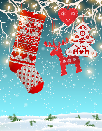 dyi: Red knitted christmas stocking with nordic patterns, with some scandinavian traditional decorations hanging on branches with decorative electric lights in front of simple winter landscape, vector illustration