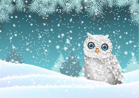 Christmas theme, cute white owl sitting in snow, in front of winter snowy forrest landscape, vector illustration Stock Illustratie