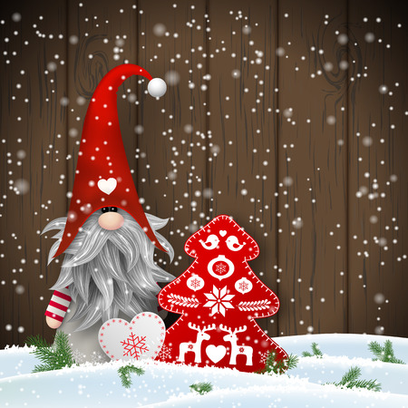 Nisser in Norway and Denmark, Tomtar in Sweden or Tonttu in Finnish, Scandinavian folklore elves, nordic christmas motive, Tomte standing in front of brown wooden wall in snow, with decorated heart and tree, vector illustration