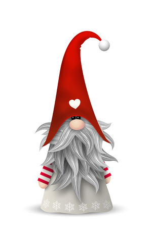Nisser in Norway and Denmark, Tomtar in Sweden or Tonttu in Finnish, Scandinavian folklore elves, nordic christmas motive, isolated on white background, vector illustration Illustration