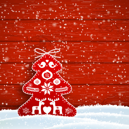 sewed: Christmas decoration in scandinavian style, red rich decorated tree in front of red wooden wall, vector illustration