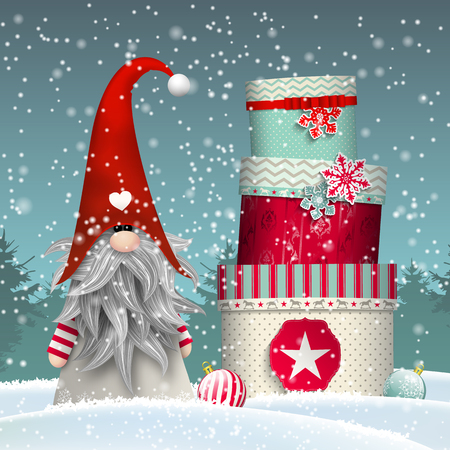 folklore: Nisser in Norway and Denmark, Tomtar in Sweden or Tonttu in Finnish, Scandinavian folklore elves, nordic christmas motive, Tomte standing in front of winter forrest in snow, with stack of colorful gift boxes, vector illustration
