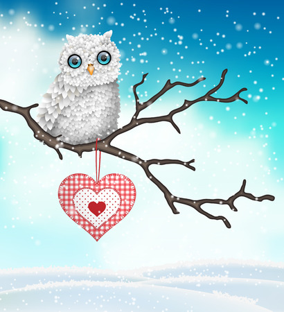 Christmas motive, cute white owl sitting on dry branch in front of brown wooden wall, vector illustration Stock Illustratie