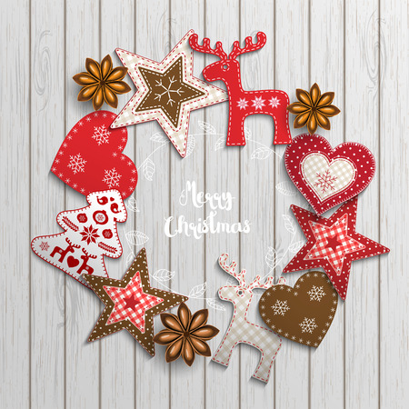 Christmas background, small scandinavian styled red decorations lying on white wooden desk, inspired by flat lay style, with text Merry christmas, framed by abstract leaf wreath, vector illustration