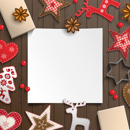style sheet: Abstract christmas background, white sheet of paper lying among small scandinavian styled decorations on brown wooden desk, inspired by flat lay style, vector illustration