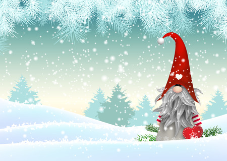 Gnome Tomte standing in winter landscape, Nisser in Norway and Denmark, Tomtar in Sweden or Tonttu in Finnish, Scandinavian folklore elves, christmas motive, vector illustration