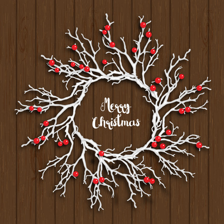 yule log: Christmas wreath created from white branches with red berries lying on brown wooden background, vector illustration, with text Merry Christmas