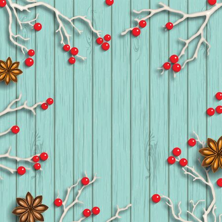 christmas motive: Christmas background in rustic style, dry branches with red berries on blue wooden background, inspired by flat lay styling, vector illustration