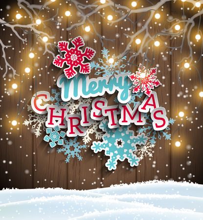 electric blue: Colorful decorative text Merry Christmas with 3d effect, on blue wooden background, with electric lights, vector illustration