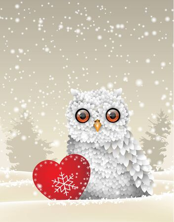 snow  snowy: Christmas theme, cute white owl sitting in snow with red heart, in front of winter snowy forrest landscape, vector illustration