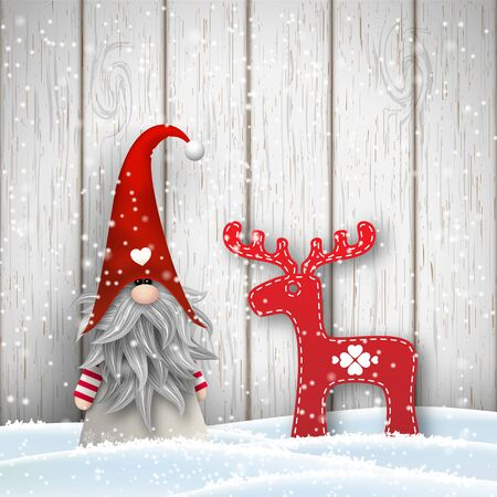 Tomte standing in front of gray wooden wall in snow, with abstract decoration in shape of reindeer. Nisser in Norway and Denmark, Tomtar in Sweden or Tonttu in Finnish are scandinavian folklore elves, nordic christmas motive, vector illustration 向量圖像