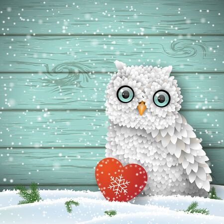 Cute white owl sitting in snow in front of blue wooden wall with small red heart, winter holiday theme, vector illustration