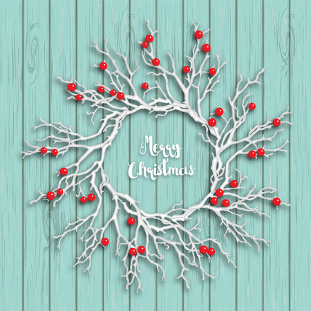 Christmas wreath created from white branches with red berries lying on blue wooden background, vector illustration, with text Merry Christmas Illustration