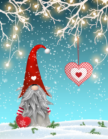 patchwork landscape: Scandinavian christmas traditional gnome, Tomte standing uder branches decorated with electric lights and hanging red heart, Nisser in Norway and Denmark, Tomtar in Sweden or Tonttu in Finnish are scandinavian folklore elves, nordic christmas motive, vect