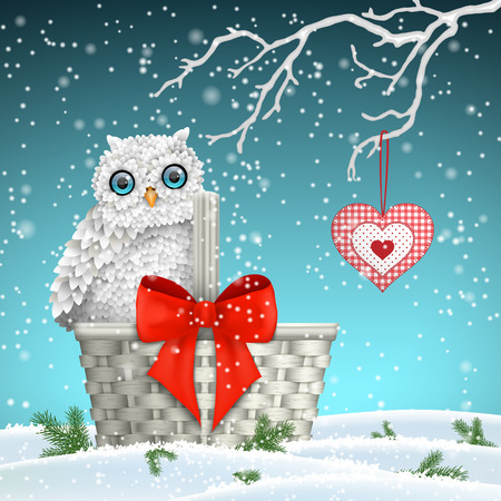 patchwork landscape: Christmas motive, cute white owl sitting on white basket with big red ribbon under dry branches and hanging red decorative heart, vector illustration Illustration