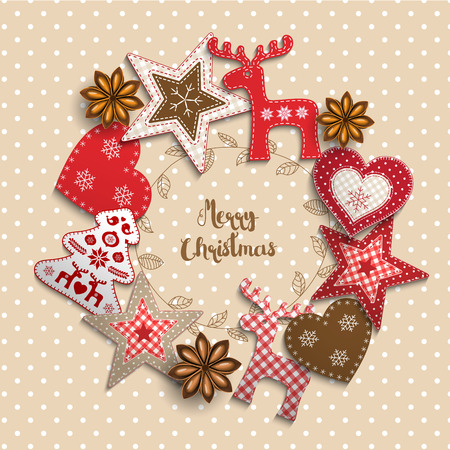 Christmas background, small scandinavian styled red decorations lying on beige polka dotted backdrop, inspired by flat lay style, with text Merry christmas, framed by abstract leaf wreath, vector illustration Иллюстрация