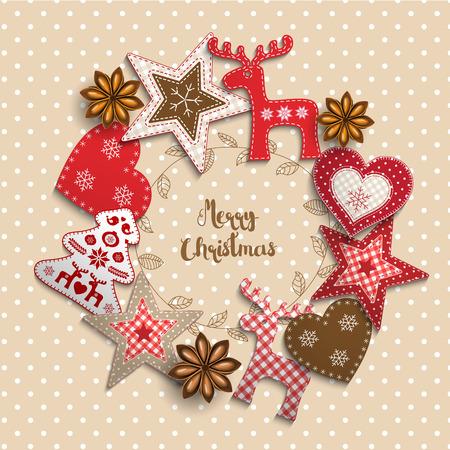 Kerstmis achtergrond, kleine Scandinavische stijl rode versieringen liggend op beige polka gestippelde achtergrond, geïnspireerd door plat lag stijl, met tekst Merry christmas, omlijst door abstracte blad krans, vectorillustratie