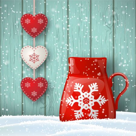 red cup: Christmas theme, red cup in snow with cute decoration in front of blue wooden wall, illustration Illustration