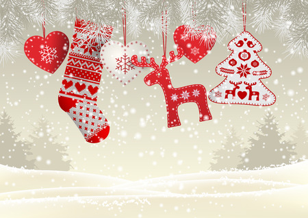 dyi: Red knitted christmas stocking with nordic patterns, with some scandinavian traditional decorations hanging on branches in front of simple winter landscape, vector illustration