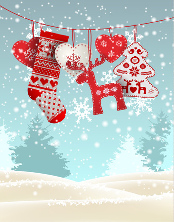 dyi: Red knitted christmas stocking with nordic patterns, with some scandinavian traditional decorations hanging in front of simple winter landscape, vector illustration Illustration