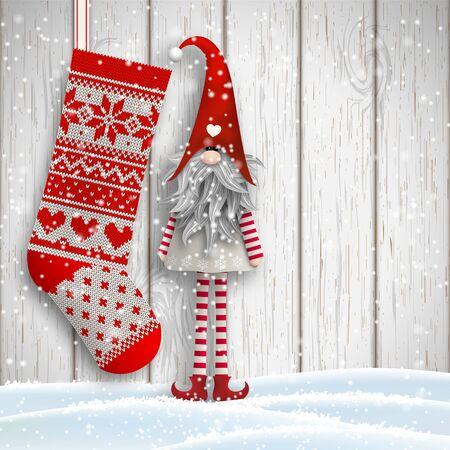 Scandinavische kerst motief, Tomte staan voor grijze houten muur in de sneeuw, met gebreide kous, Nisser in Noorwegen en Denemarken, Tomtar in Zweden of Tonttu in het Fins zijn traditionele folklore elfen, vector illustratie