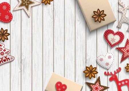 lay: Christmas background, small scandinavian styled red decorations lying on white wooden desk, inspired by flat lay style, vector illustration