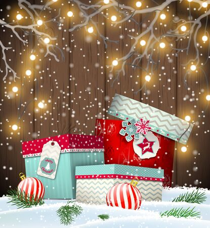 Group of colorful gift boxes lying in snow under electric christmas lights, in front of dark brown wooden wall, vector illustration, eps 10 with transparency