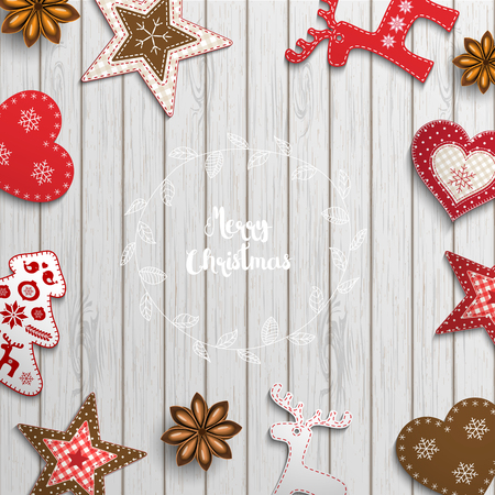christmas motive: Christmas background, small scandinavian styled red decorations lying on white wooden desk, inspired by flat lay style, with text Merry christmas, framed by abstract leaf wreath, vector illustration