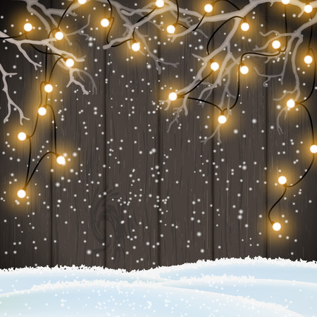 wood surface: Christmas background, yellow electric lights on dark wooden wall hanging in white dry branches, vector illustration