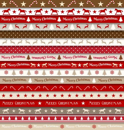 collection red: collection of christmas ribbons, red, white, brown and beige colors, vector illustration