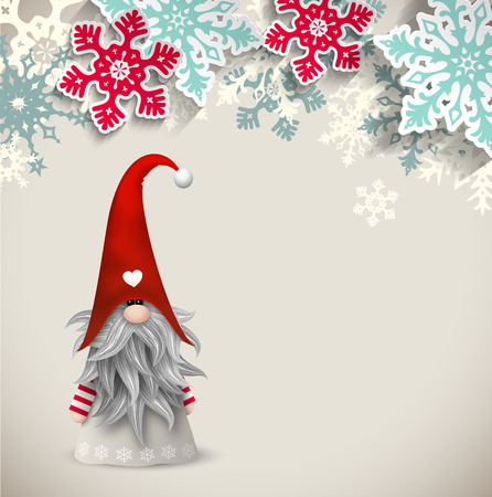 Tomte, scandinavian traditional christmas dwarf with abstract snowflakes on beige background, vector illustration Stock Illustratie