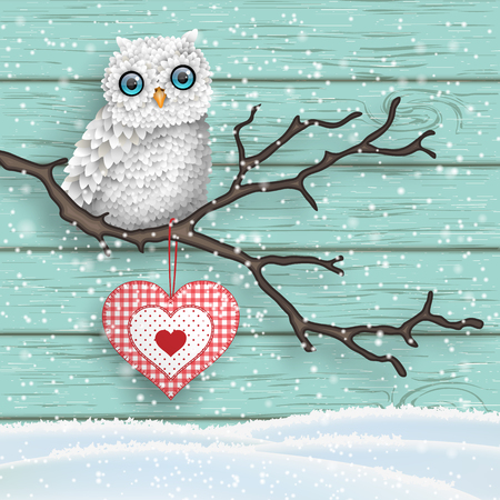 patchwork landscape: Christmas motive, cute white owl sitting on dry branch in front of blue wooden wall, vector illustration Illustration