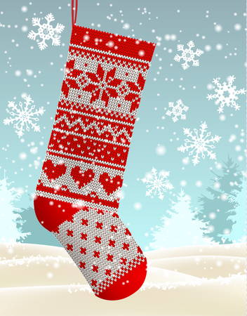 Christmas theme, red knitted christmas stocking hanging in front of winter snowy forrest landscape, with text Let it snow, vector illustration