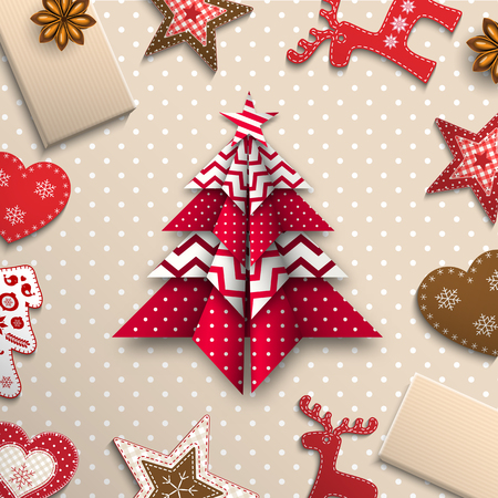 red and white origami tree on polka dot background lying among small traditional decorations, abstract christmas theme inspired by flat lay style, vector illustration