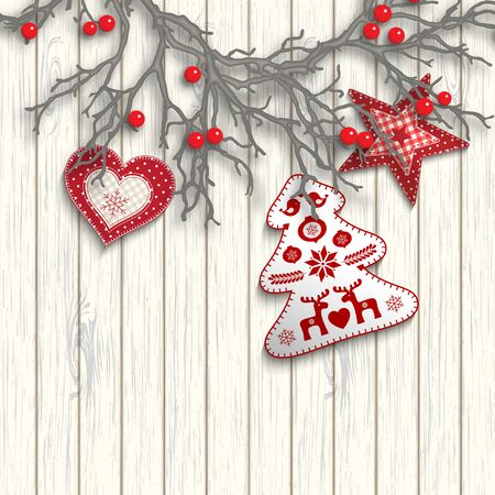 One half of Christmas wreath created from gray branches with red berries lying on white wooden background, with three decorations in scandinavian style, vector illustration