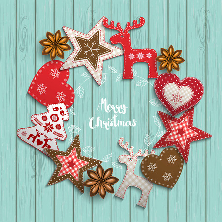Christmas background, small scandinavian styled red decorations lying on blue wooden desk, inspired by flat lay style, with text Merry christmas, framed by abstract leaf wreath, vector illustration