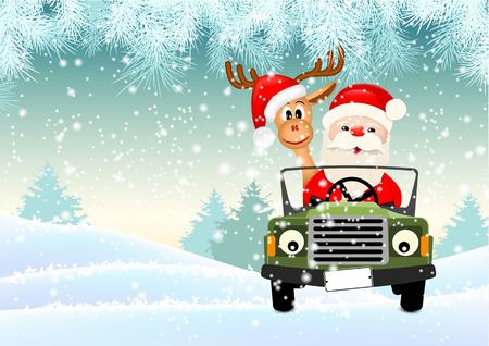 Santa con la sua renna guidando una macchina attraverso il paesaggio invernale, illustrazione vettoriale