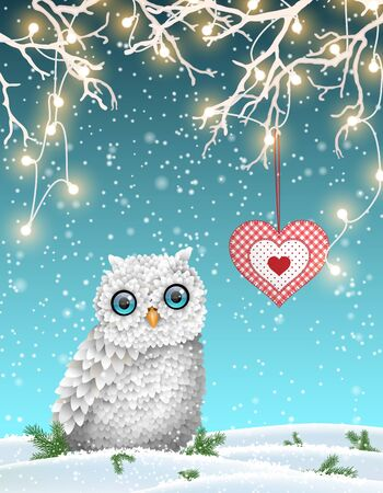 patchwork landscape: Christmas motive, cute white owl sitting under dry branch with electric lights and decorative red heart in winter landscape, vector illustration Illustration